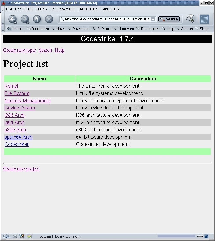 Creating a new Project – Project List